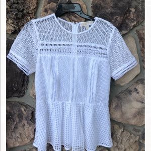 Michael Kors White Crochet peplum top